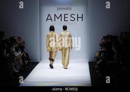 Berlin, Germany. 15th Jan, 2019. Models on the catwalk with the Autum/Winter 2019/20 collection of the designer Amesh Wijesekera at the Mercedes Benz Fashion Week at the E-Werk in Berlin-Mitte. Credit: Simone Kuhlmey/Pacific Press/Alamy Live News - Stock Photo