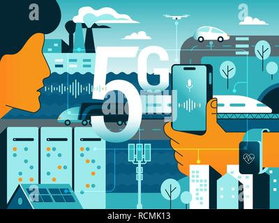 5G technologies in our life. Gradient vector concept illustration of new high speed wireless data connection 5G between sensors, servers, people, mobi - Stock Photo