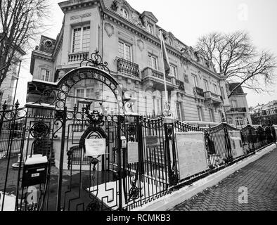 STRASBOURG, FRANCE - MAR 18, 2018: Russian Colsulate architecture building with Russian National Flag pooling staiton for Russian presidential election 2018 voting for President - black and white - Stock Photo
