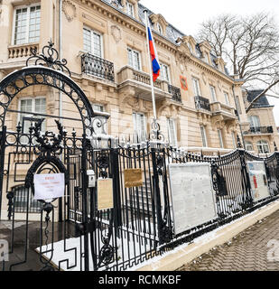 STRASBOURG, FRANCE - MAR 18, 2018: Russian Colsulate architecture building with Russian National Flag pooling staiton for Russian presidential election 2018 voting for President - Stock Photo