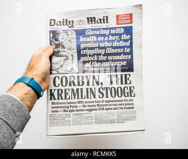 PARIS, FRANCE - MAR 19, 2018: British Daily Mail newspaper with portrait of Stephen Hawking the English theoretical physicist, cosmologist dead on 14 March 2018 - Stock Photo