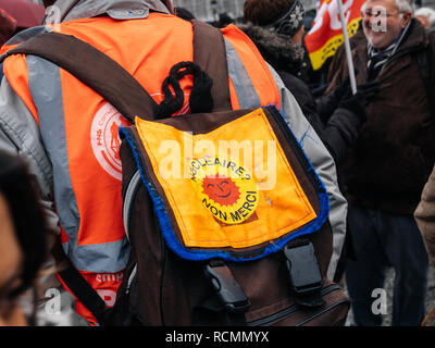STRASBOURG, FRANCE  - MAR 22, 2018: Nuclear power - no thank you sticker at demonstration protest against Macron French government string of reforms - Stock Photo