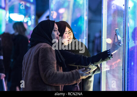 Canary Wharf, London, UK, 15th January, 2019. The 'Prismatica' installation in Jubilee Square. The  Canary Wharf Winter Lights installations  open to the public  in and around Canary Wharf from Jan 15th until Jan 26th. Credit: Carol Moir/Alamy Live News - Stock Photo