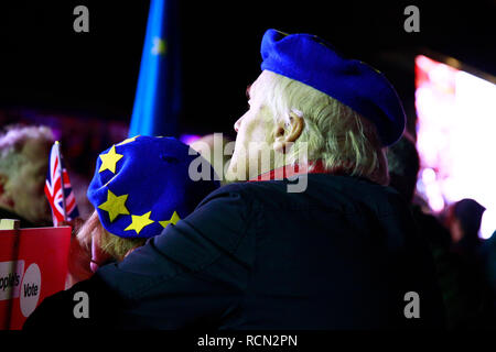 Parliament Square, London, UK. 15th Jan 2019. Meaningful vote results live, Parliament Square, London. Thousands gathered on Parliament Square to await the results of the Meaningful Vote. The crowd cheered and cried as the whelming response to defeat the motion. Credit: Natasha Quarmby/Alamy Live News - Stock Photo