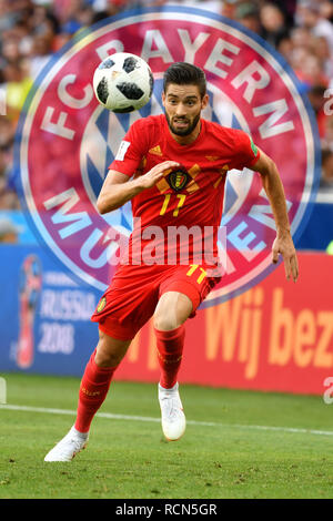 Sochi, Russland. 16th Jan, 2019. FOTOMONTAGE: Transfer rumors about Carrasco Yannick Carrasco to Bayern? Belgian would like to wait. Image: Yannick FERREIRA-CARRASCO (BEL), action, single action, single image, cut out, full body shot, whole figure. Belgium (BEL) - Panama (PAN) 3-0, Preliminary Round, Group G, Game 13, on 18.06.2018 in SOCHI, Fisht Olymipic Stadium. Football World Cup 2018 in Russia from 14.06. - 15.07.2018. | Usage worldwide Credit: dpa/Alamy Live News - Stock Photo
