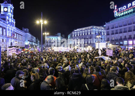 Thousands of protesters are seen gathering at the Puerta del Sol during the protest. Women gathered at Puerta del Sol in Madrid to protest against Vox, the far-right Spanish political party who repealed legislation on combating violence against women. - Stock Photo