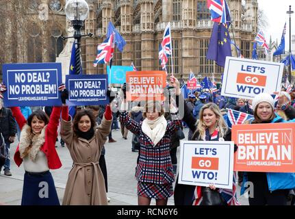 London, UK. 15th Jan 2019. Brexit protesters outside the Houses of Parliament, London (UK). Tuesday 15 January 2019. Credit: Jonathan Jones/Alamy Live News - Stock Photo