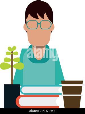 Student books coffee and bonsai - Stock Photo