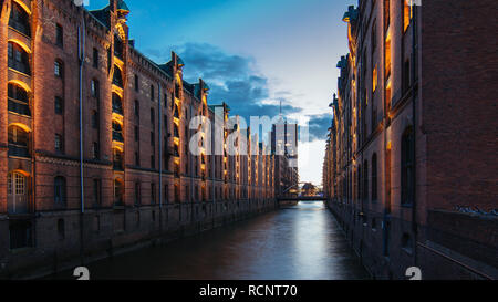 Speicherstadt in Hamburg in der Abenddämmerung - Stock Photo
