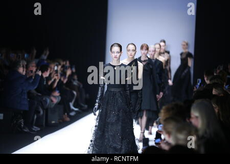Berlin, Germany. 15th Jan, 2019. Models on the catwalk with the Autum/Winter 2019/20 collection of the designer Irene Luft at the Mercedes Benz Fashion Week at the E-Werk in Berlin-Mitte. Credit: Simone Kuhlmey/Pacific Press/Alamy Live News - Stock Photo