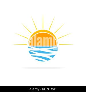 Sun on the waves logo in flat design. Vector illustration. Travel concept, isolated on white background - Stock Photo