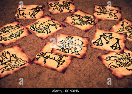 cards with antique style zodiac signs Stock Photo: 231592636