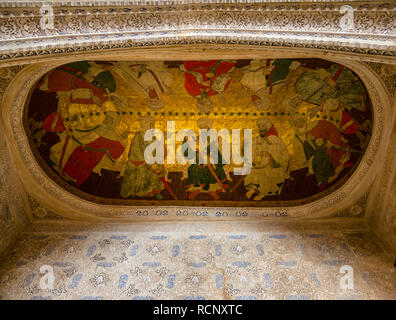 Restored leather painting, Hall of the Kings, Nasrid Palace, Alhambra Palace, Granada, Andalusia, Spain - Stock Photo