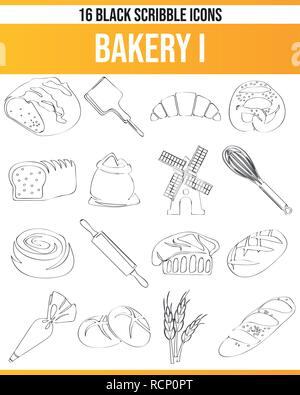 Black pictograms / icons on bakery. This icon set is perfect for creative people and designers who need the issue of bread and bake in their graphic d - Stock Photo