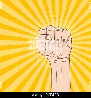 A pop art cartoon fist in flat design. Vector illustration. Pop art fist up, on bright rays background - Stock Photo