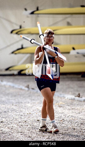 Barcelona Olympics 1992 - Lake Banyoles, SPAIN, USA W1X, Anne Marden. {Mandatory Credit: © Peter Spurrier/Intersport Images] - Stock Photo