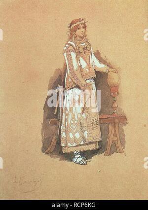 Costume design for the opera 'Snow Maiden' by N. Rimsky-Korsakov. Museum: State Russian Museum, St. Petersburg. Author: Vasnetsov, Viktor Mikhaylovich. - Stock Photo