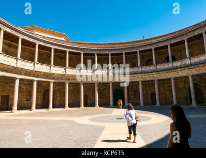 Carlos V Palace courtyard, Alhambra, Granada, Andalusia, Spain - Stock Photo