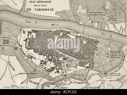 Napoleonic map.City of Saragossa, Aragon, Spain. Edited in 1864. During the War of Spanish Independence, the city suffered two sieges, 1808 and 1809. Atlas de l'Histoire du Consulat et de l'Empire. History of the Consulate and the Empire of France under Napoleon by Marie Joseph Louis Adolphe Thiers (1797-1877). Drawings by Dufour, engravings by Dyonnet. Edited in Paris, 1864. - Stock Photo