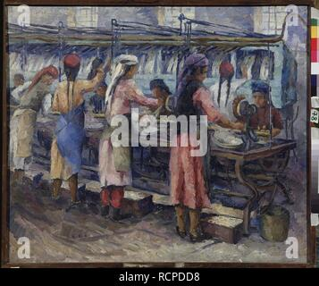 Uzbek women at the silk spinning factory in Samarkand. Museum: State Museum-and exhibition Centre ROSIZO, Moscow. Author: Permyakova, Olga Andreyevna. - Stock Photo