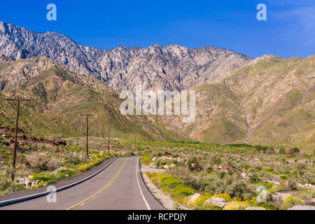 Road leading to the Palm Springs Aerial Tramway, Mount San Jacinto, California - Stock Photo