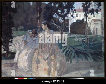 Tapestry. Museum: State Tretyakov Gallery, Moscow. Author: Borisov-Musatov, Viktor Elpidiforovich. - Stock Photo