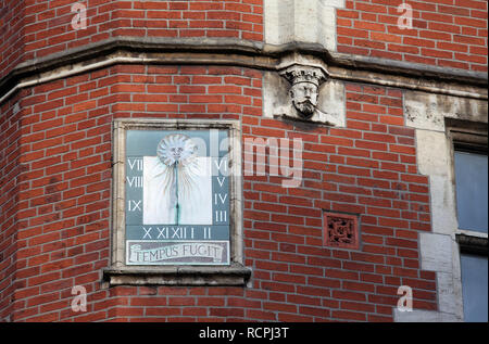 Sundial on Cairns Chambers in Sheffield - Stock Photo