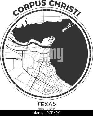 T-shirt map badge of Corpus Christi, Texas. Tee shirt print typography label badge emblem. Vector illustration - Stock Photo