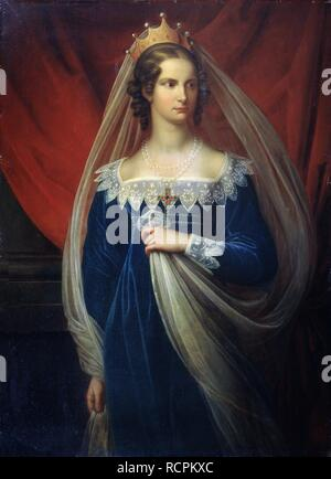 Portrait of Princess Charlotte of Prussia (1798-1860). Museum: State Open-air Museum Palace Gatchina, St. Petersburg. Author: Kügelgen, Gerhard von. - Stock Photo