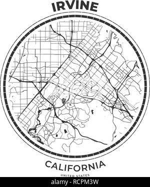 T-shirt map badge of Irvine, California. Tee shirt print typography label badge emblem. Vector illustration - Stock Photo