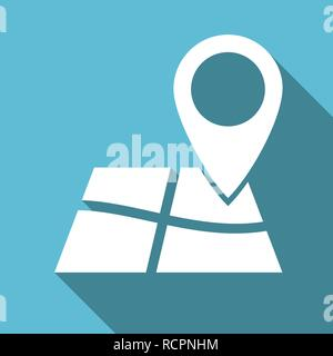 Flat design gps map pointer icon - Stock Photo