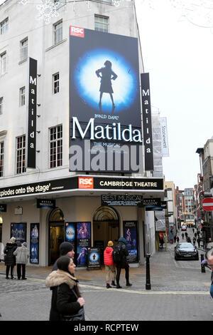 Cambridge Theatre vertical street view of Matilda the musical Roald Dahl show in London England UK    KATHY DEWITT - Stock Photo