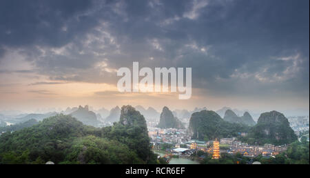 Li River and Karst mountains Guilin, Yangshuo - Stock Photo