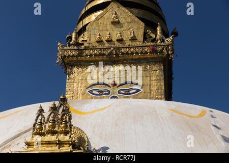 Eyes of the Buddha on the Boudhanath stupa in Kathmandu. - Stock Photo