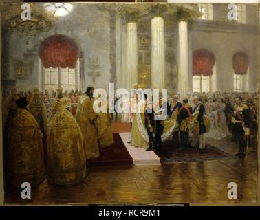The wedding of Tsar Nicholas II and the Princess Alix of Hesse-Darmstadt on November 26, 1894. Museum: State Russian Museum, St. Petersburg. Author: REPIN, ILYA YEFIMOVICH. - Stock Photo