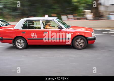 Hong Kong Taxi Cab - Stock Photo