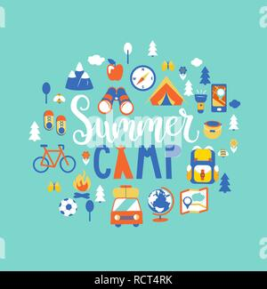 Summer camp concept with handdrawn lettering, Camping and Travelling on holiday with a lot of camping equipment such as tent, backpack and others. Poster in flat style, vector illustration. - Stock Photo