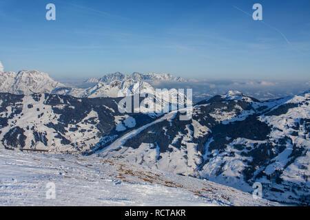 Beautiful view of the snowy mountains, winter sport. Panorama of the Austrian ski resort of Saalbach-Hinterglemm , Austria - Stock Photo