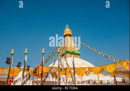 The dome and gold spire of Bodhnath Stupa, Kathmandu, Nepal. - Stock Photo