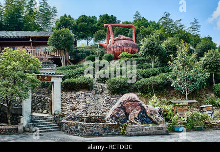 Guangxi, China - September 29, 2014 : traditional tea house  between Guilin and Yangshuo in Guangxi province  China - Stock Photo