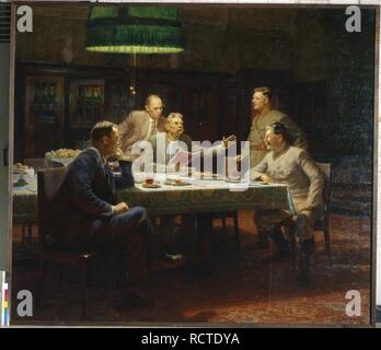 Gorky read his fairy tale 'A Girl and Death' to Joseph Stalin, Kliment Voroshilov and Vyacheslav Molotov, 11 October 1931. Museum: State Museum-and exhibition Centre ROSIZO, Moscow. Author: Yar-Kravtchenko, Alexander Nikolayevich. Copyright: This artwork is not in public domain. It is your responsibility to obtain all necessary third party permissions from the copyright handler in your country prior to publication. - Stock Photo
