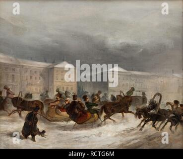 Winter Sleigh Rides. Museum: PRIVATE COLLECTION. Author: ANONYMOUS. - Stock Photo