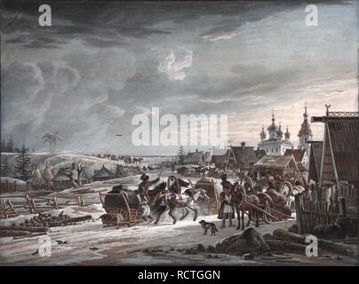 Winter. Museum: PRIVATE COLLECTION. Author: Orlowski (Orlovsky), Alexander Osipovich. - Stock Photo