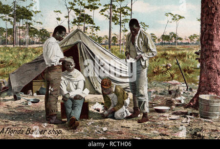 A Florida Barber Shop, Black Americana, African American, old postcard. - Stock Photo