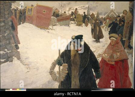 Arrival of the Foreigners in Russia. 17th century. Museum: State Tretyakov Gallery, Moscow. Author: Ivanov, Sergei Vasilyevich. - Stock Photo