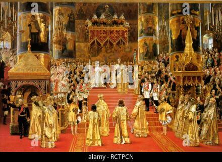 Coronation of Empreror Alexander III and Empress Maria Fyodorovna. Museum: State Hermitage, St. Petersburg. Author: BECKER, GEORGES. - Stock Photo