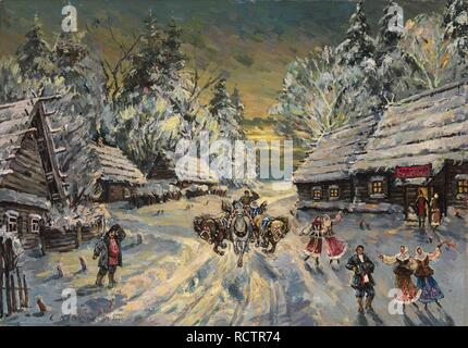 Russian Winter. Museum: PRIVATE COLLECTION. Author: Korovin, Konstantin Alexeyevich. - Stock Photo