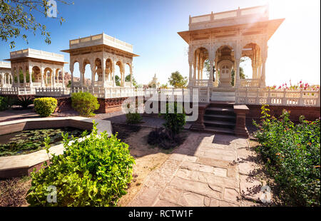 White marble cenotaph in memorial Jaswant at blue city in sunny day in Jodhpur, Rajasthan, India - Stock Photo