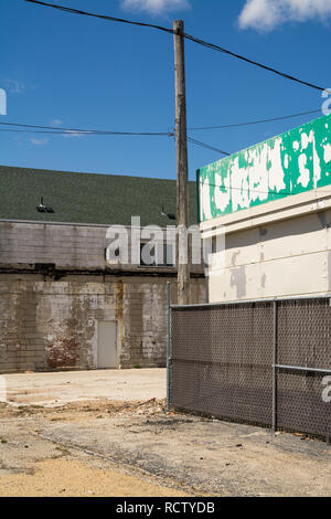 Back of old closed down businesses in small Midwest town.  LaSalle, Illinois, USA - Stock Photo