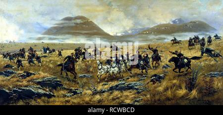 The Nizhny Novgorod Dragoons chasing the Turks after the Battle on October 3, 1877. Museum: State Central Artillery Museum, St. Petersburg. Author: Kivshenko, Alexei Danilovich. - Stock Photo